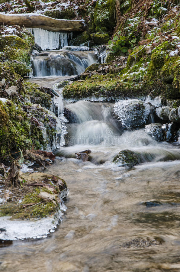 Small creek with a waterfall royalty free stock photography