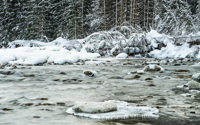 Small creek in winter, snow covered trees and shore background, ice on top of rocks at river stock photos