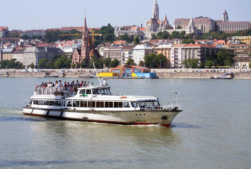 Small cruise ship in Budapest, Hungary royalty free stock image