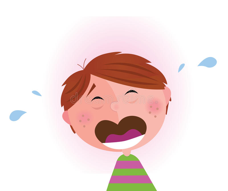 Small crying boy vector illustration