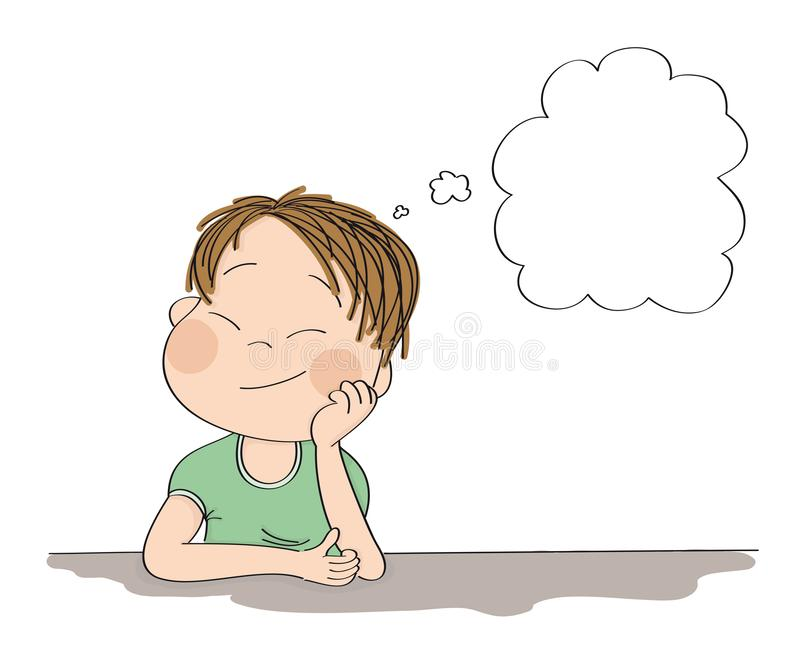 Small cute boy daydreaming, imagining something. Original hand drawn illustration with copy space for your text. Small cute boy daydreaming, imagining something stock illustration