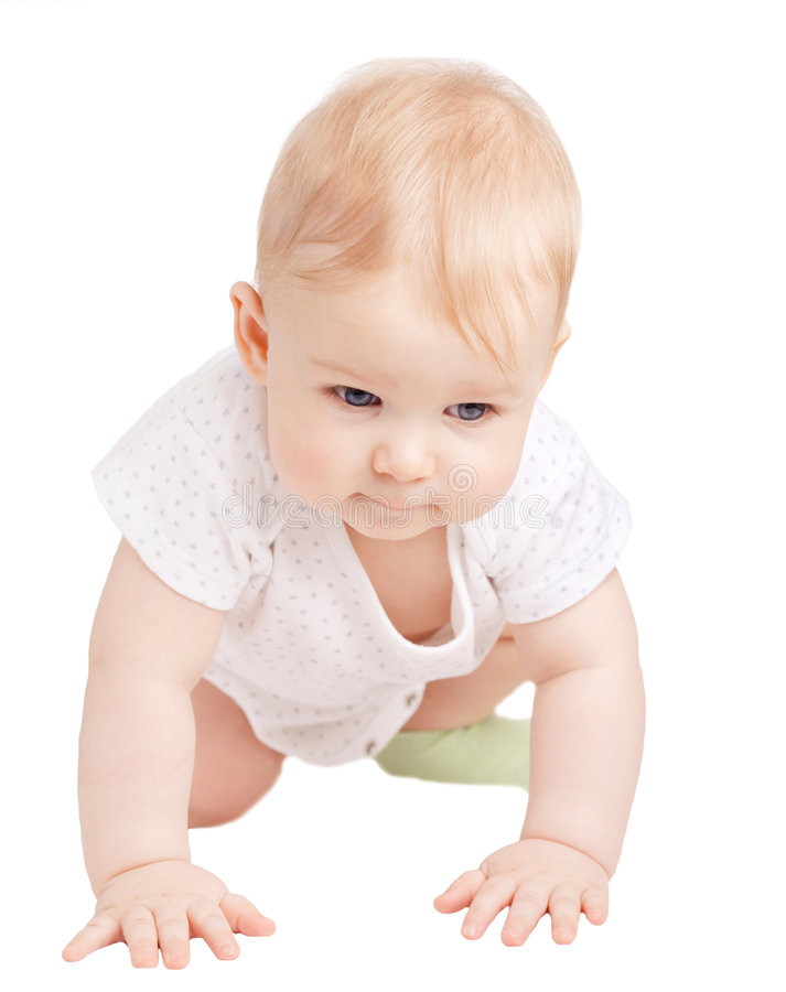 Small cute child on white background royalty free stock images