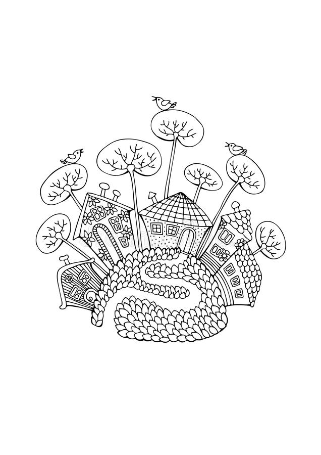 Small cute village on hill. Hand drawn village. Sketch for anti-stress adult coloring book in zen-tangle style. Vector illustration for coloring page stock illustration