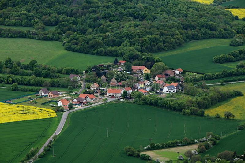 Small Czech village between fields and forest royalty free stock images