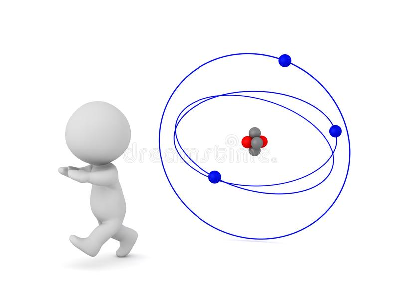 3D Character Running Away from an Atom stock illustration