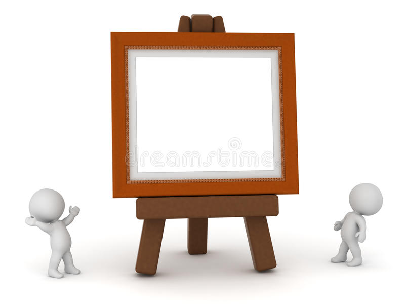Download Small 3D Characters With Large Easel And Painting Frame Stock Illustration - Image: 88354502
