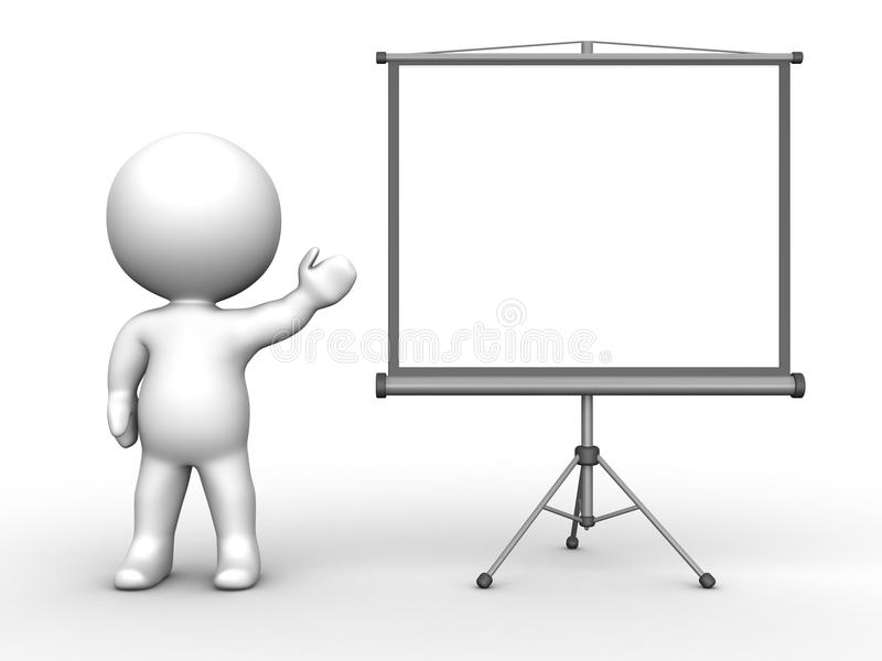 Download 3D Man Presenting Large Projector Screen Stock Illustration - Illustration of cartoon, presenter: 30276590