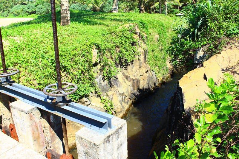 A small dam at the hotel Saman Villas. Sri Lanka royalty free stock photography