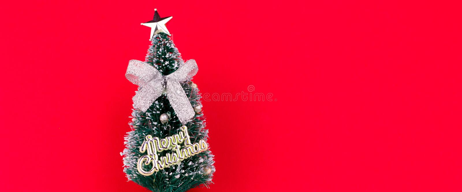 decorative christmas tree red background copy space banner royalty free stock images