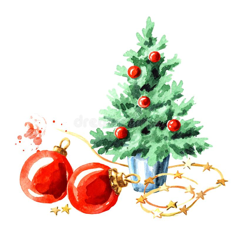 Small decorative Christmas tree and red balls. Symbol of the new year. Watercolor hand drawn illustration, isolated on white backg. Round royalty free illustration