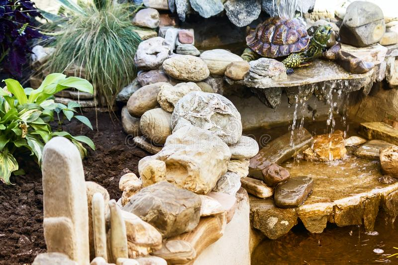 Small decorative pond in the garden. royalty free stock photography