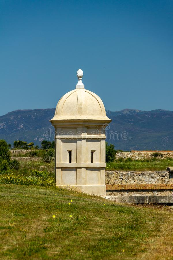 Small defense tower at Sant Ferran Castle royalty free stock photos