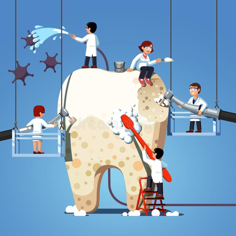 Small dentists people cleaning big unhealthy tooth royalty free illustration