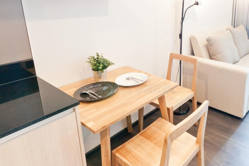 Small dining corner in condo. Bangkok stock images