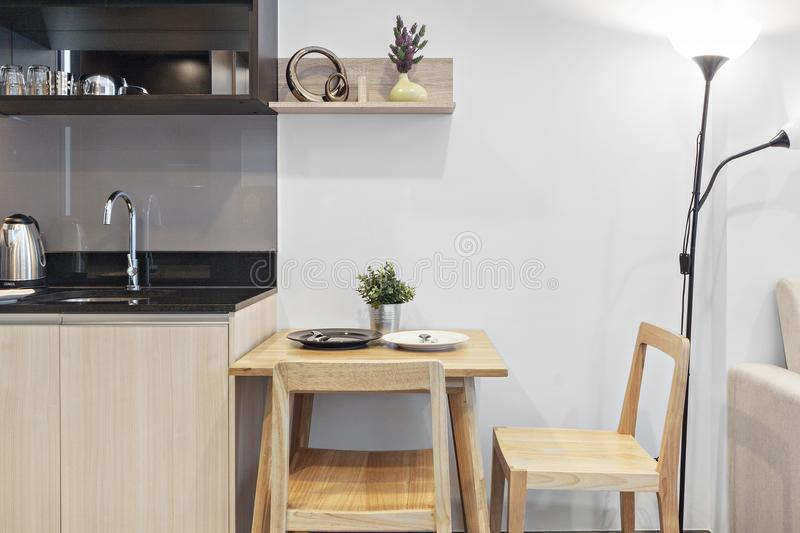 Small dining corner in condo. Bangkok stock photos
