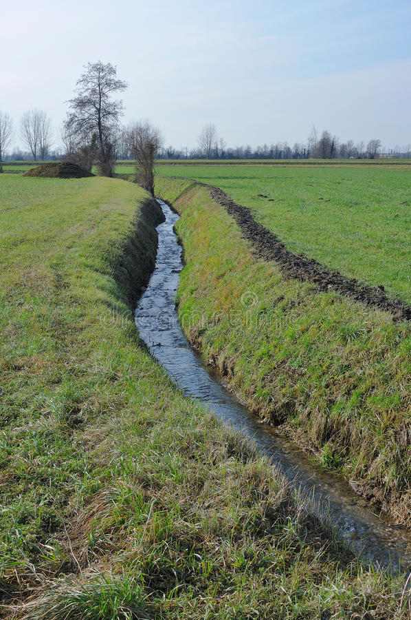 Small ditch in winter country. Foreshortening of small ditch in winter country , shot in bright light on lombardy plains royalty free stock image