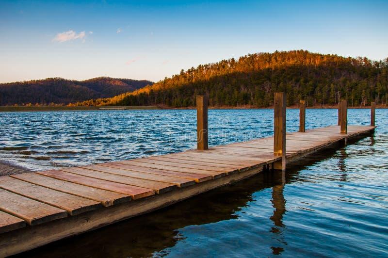 Small dock on Lake Arrowhead, near Luray, Virginia. Small dock on Lake Arrowhead, near Luray, Virginia stock photography