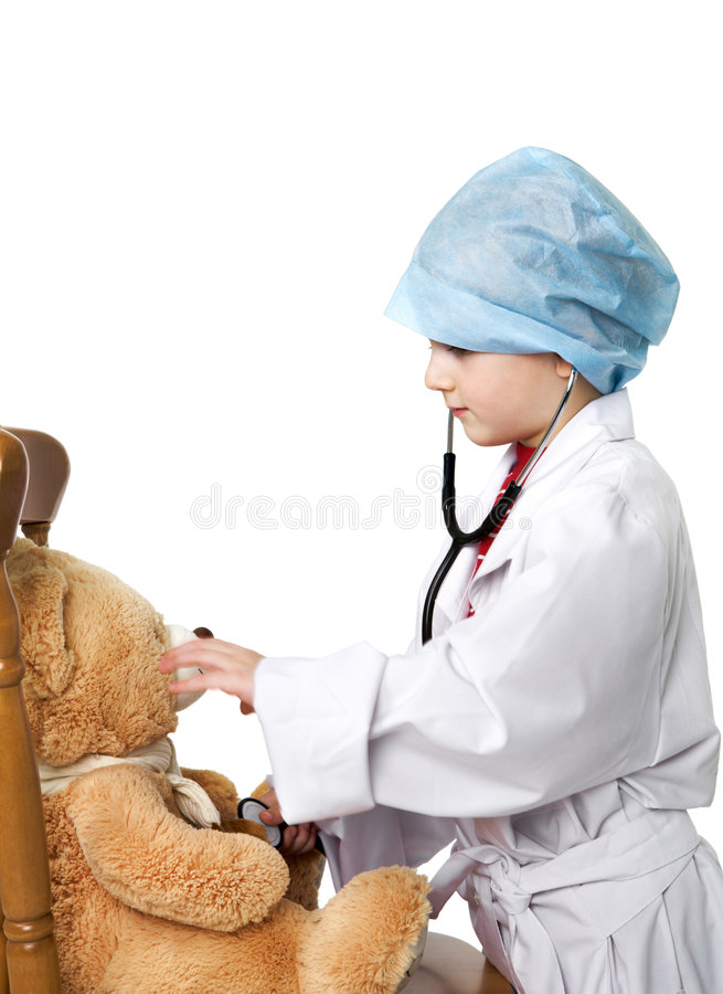 Small Doctor And Teddy Bear Royalty Free Stock Photos