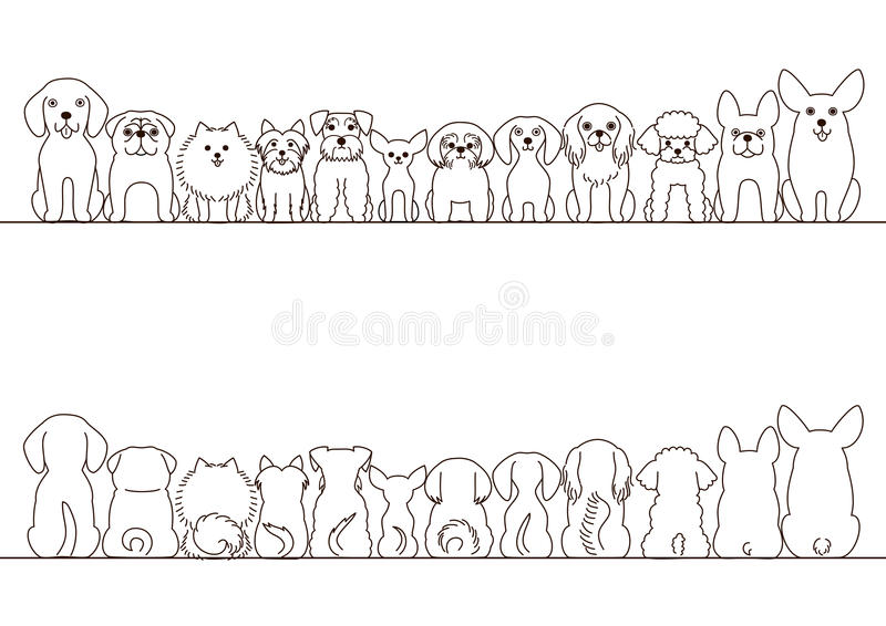 Small dogs border set vector illustration