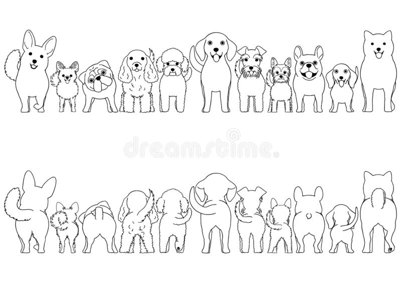 Small Dogs line art border set royalty free illustration