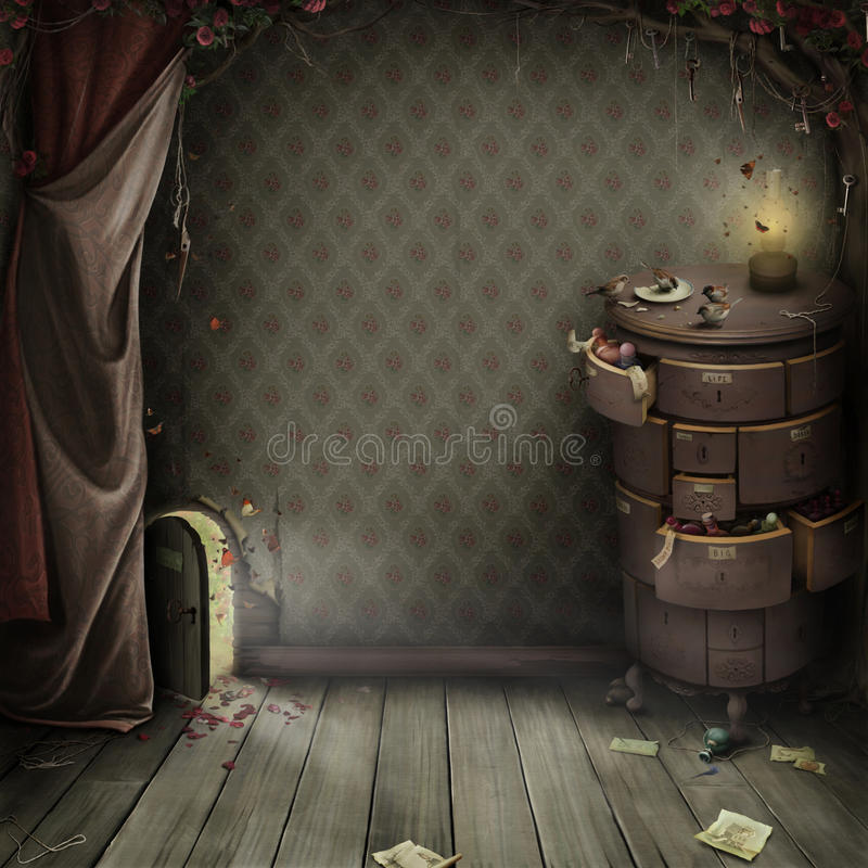 A small door in the Amazing garden royalty free illustration
