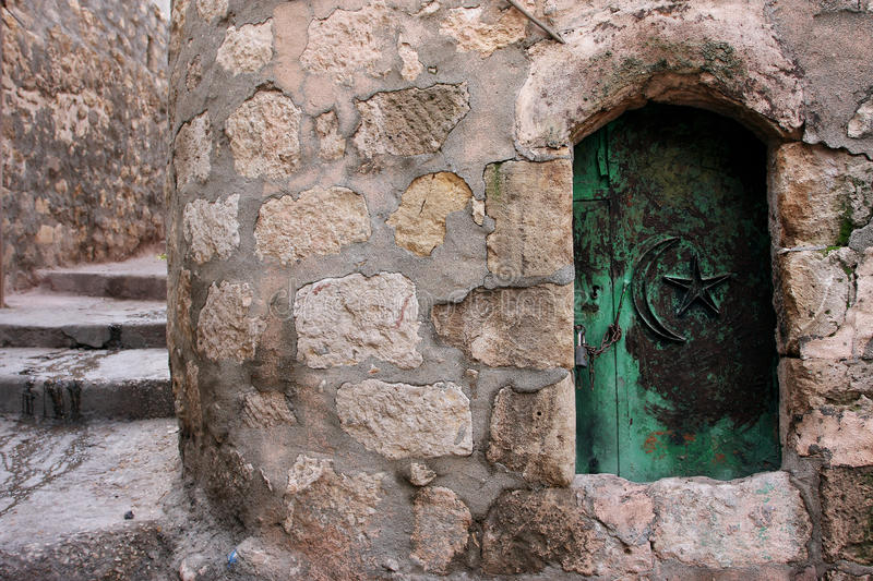 The small door in the old arabic style house royalty free stock images
