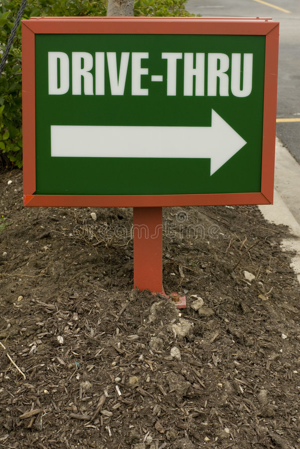 Small drive-thru sign stock photography