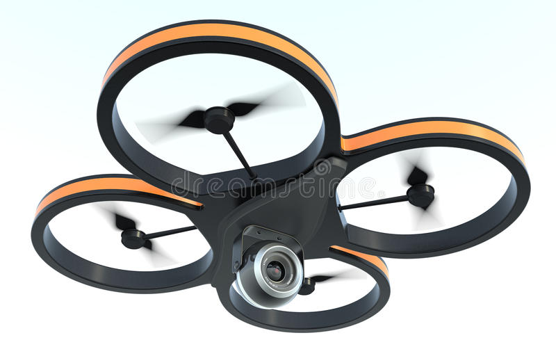 Small drone. One small drone with a camera, on white background, also concept of privacy (3d render