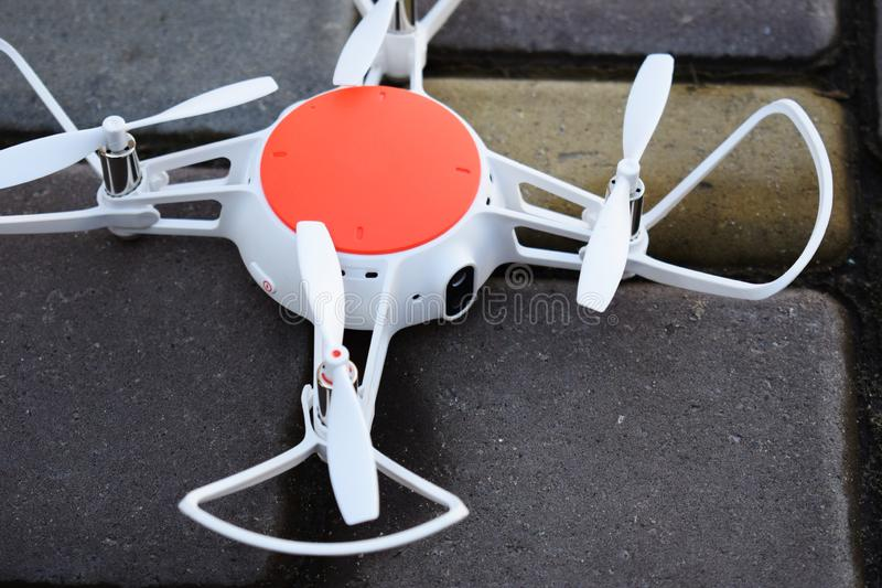 A small drone of white and orange stock photography