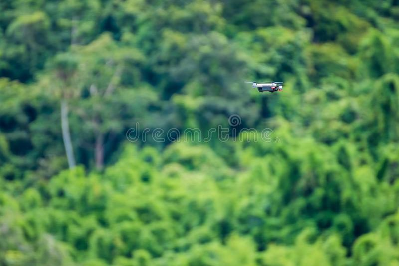 Small drones flying in the sky, Natural background. Closeup, wild, environment, forest, aerial, agriculture, air, aircraft, aviation, beautiful, camera stock image