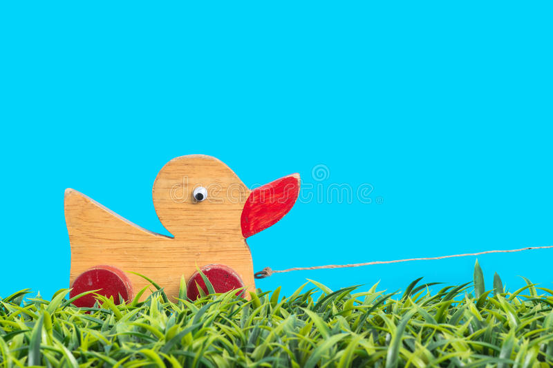 Small duck toy on green grass.  stock image