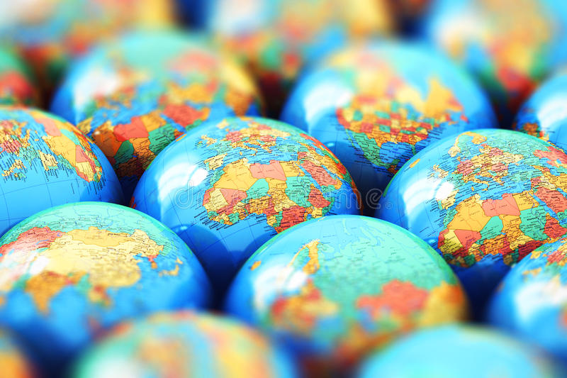 Small Earth globes with world maps stock illustration