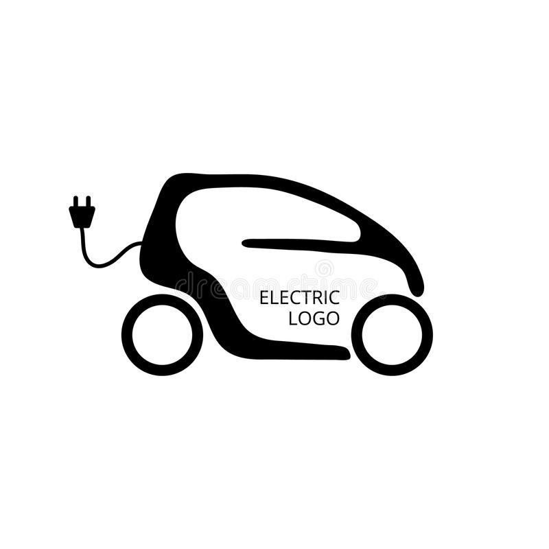 Small electric car for easy parking and ride city. Eco car concept icon. Economy vehicle. Hybrid transport logo vector illustration