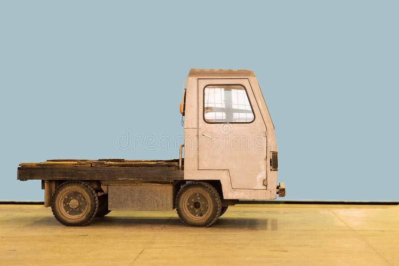 Small electric car truck on industrial factory.  stock photography