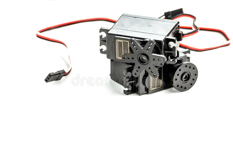 Small electric engines isolated on white stock photo