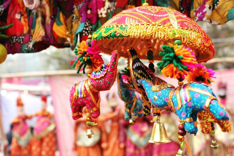 Small elephant toy in dilli haat stock photo