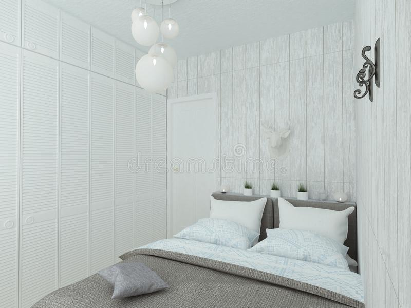 Small empty bedroom with white bed royalty free stock image