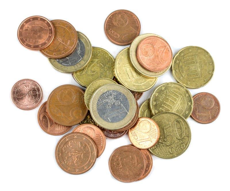 Small euro coins stock photos