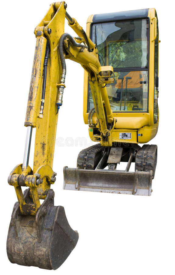 Small excavator. Isolated on white background stock photography
