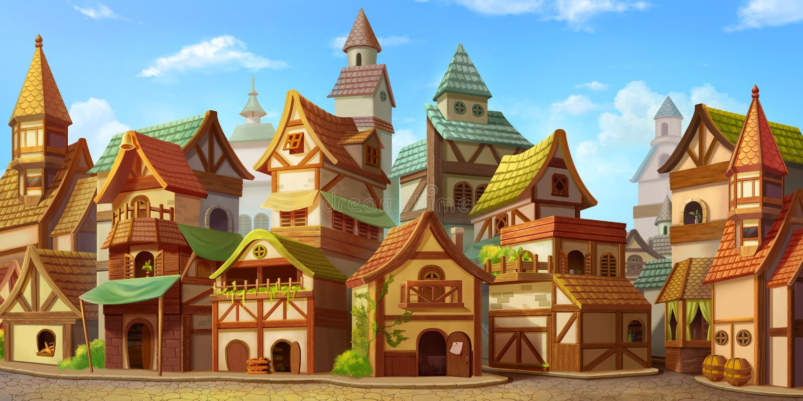 Small Fairy Tale Town. Fiction Backdrop. Concept Art. Realistic Illustration vector illustration