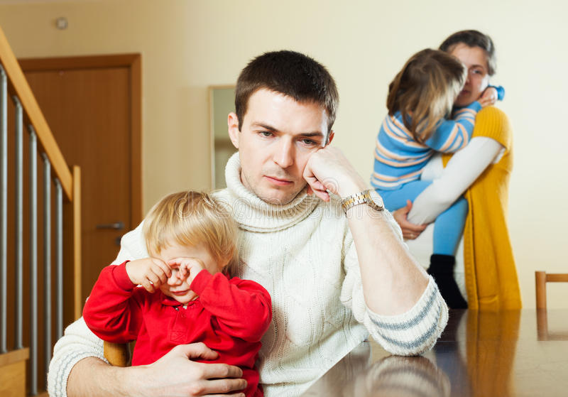 Small family of four after quarrel royalty free stock images