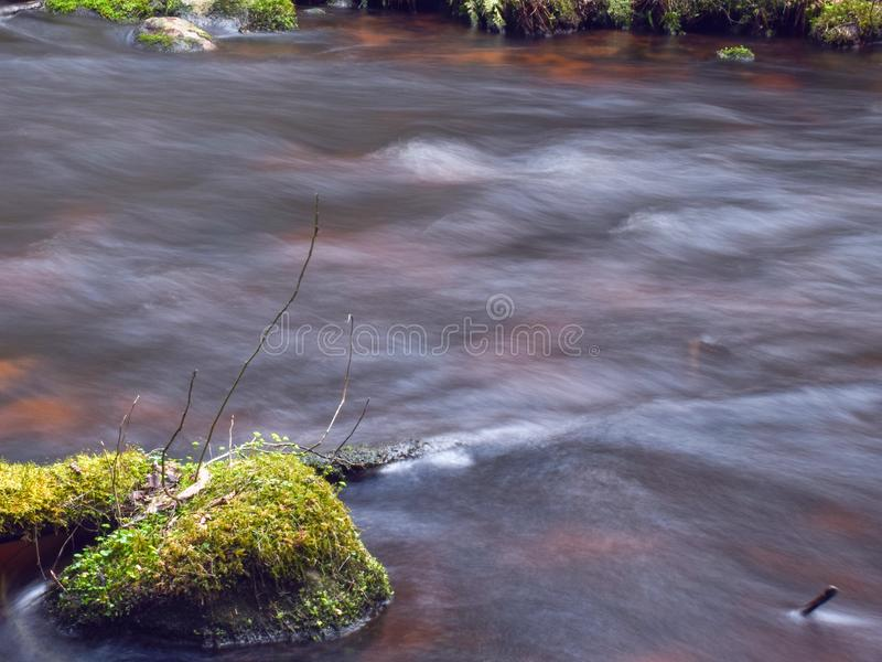 Small and fast river, sunny spring day, slow exposure. Landscape with small and fast river, sunny spring day, slow exposure stock images