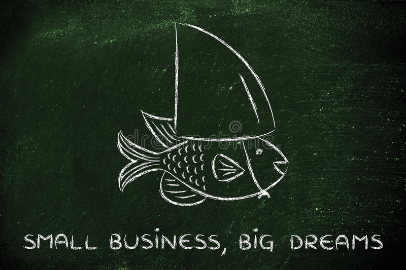 Small fish wearing a fake shark fin, concept of having big dream stock image