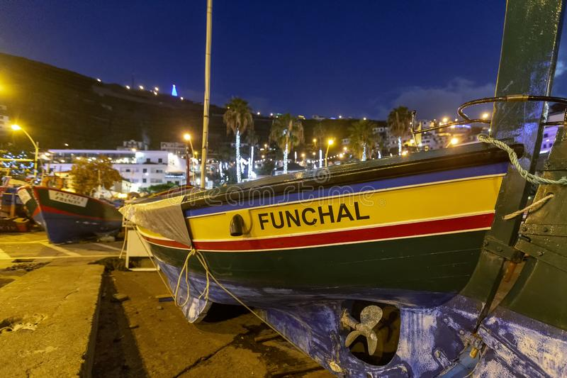 A small fisher boat on Madeira, Portugal royalty free stock photos