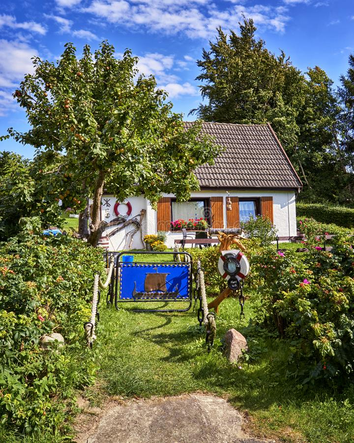 Small fisherman house in Kloster on the island Hiddensee, Baltic Sea, Germany. Architecture, building, hotel, travel, tourism, coast, cottage, countryside stock images
