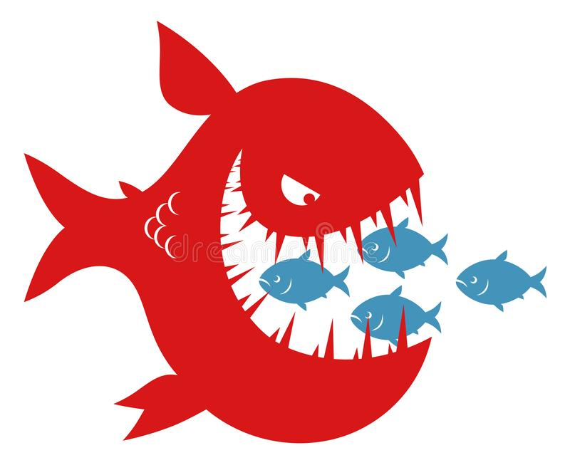 Small fishes in the mouth of big fish royalty free illustration