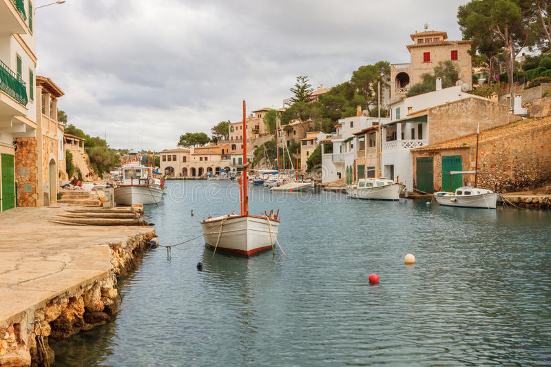 small fishing port in cala figuera santanyi mallorca spain editorial stock photo image. Black Bedroom Furniture Sets. Home Design Ideas