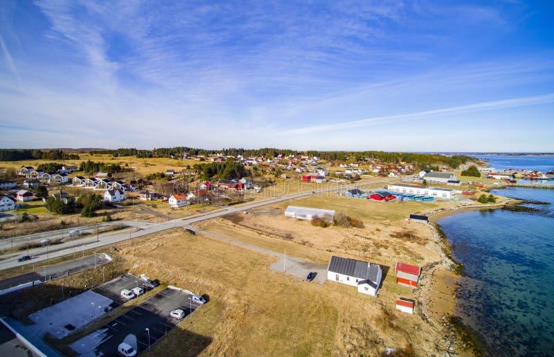 Small fishing town, Norwegian island, scenic aerial view stock photo