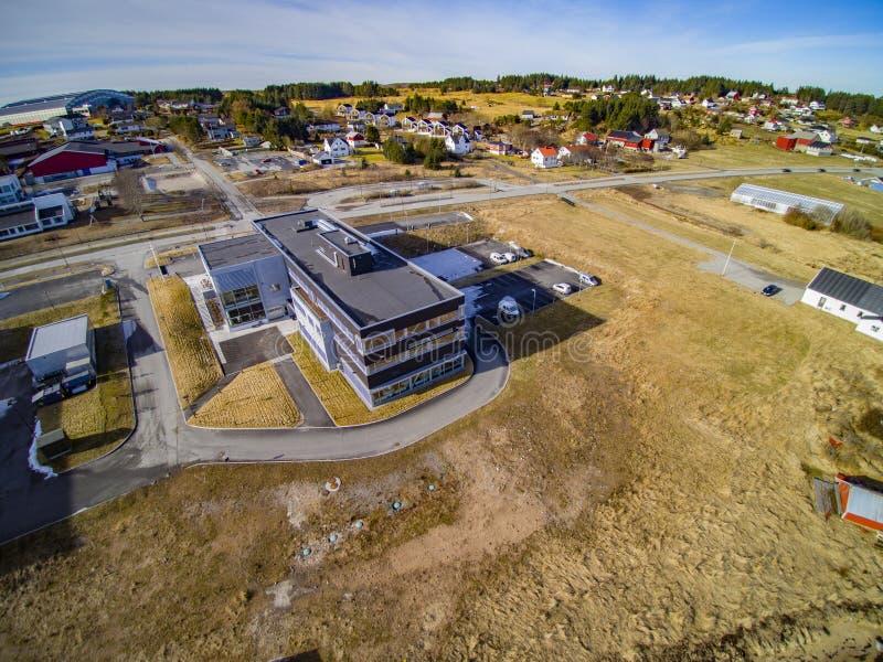 Small fishing town, Norwegian island, scenic aerial view stock photos