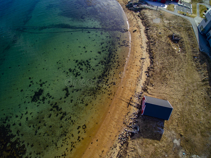 Small fishing town, Norwegian island, scenic aerial view stock image